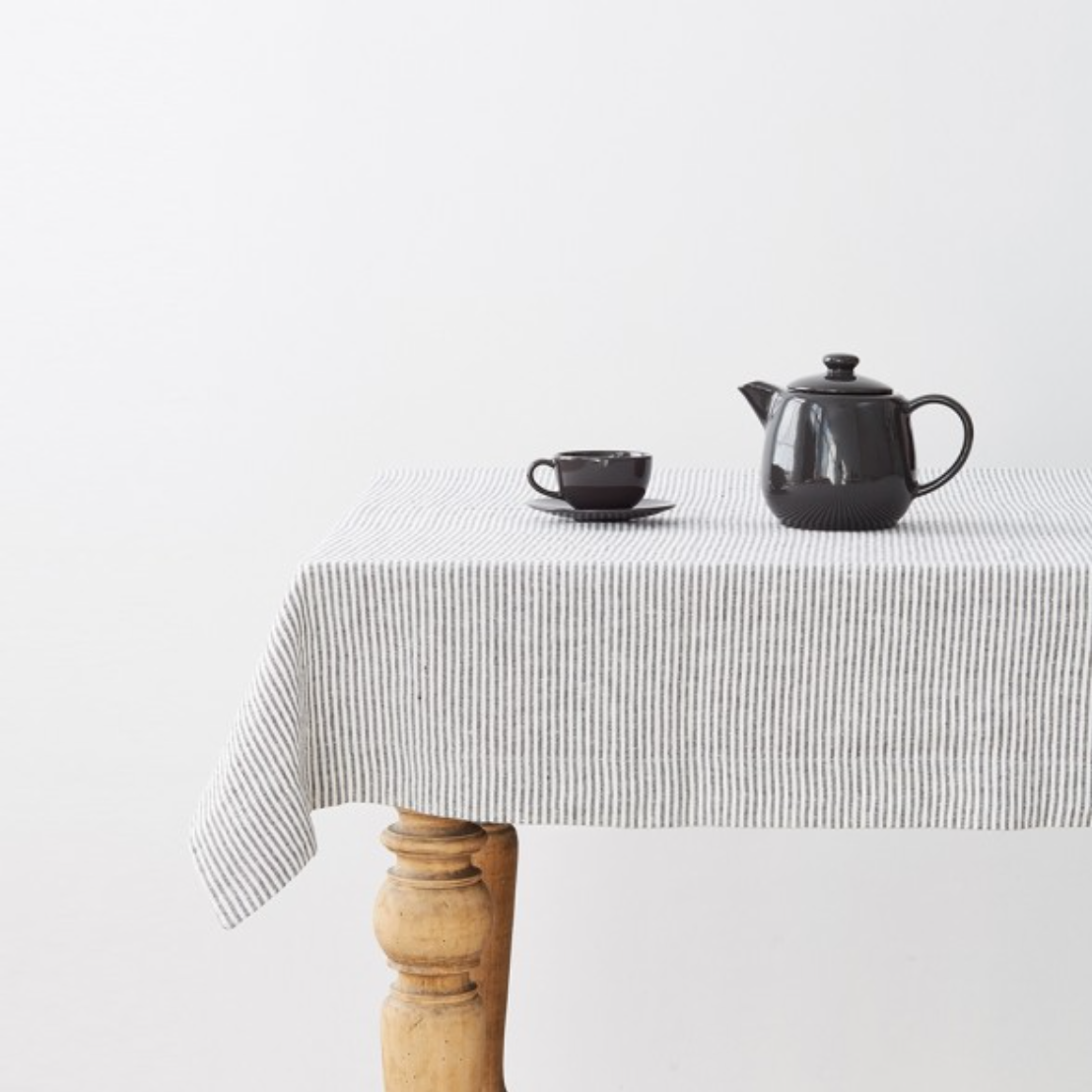 WASHED LINEN TABLECLOTH - THIN BLACK STRIPES (140x200cm)