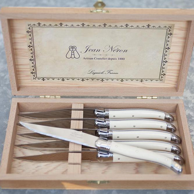 LAGUIOLE 6 STEAK KNIVES IN PRESENTATION BOX - IVORY