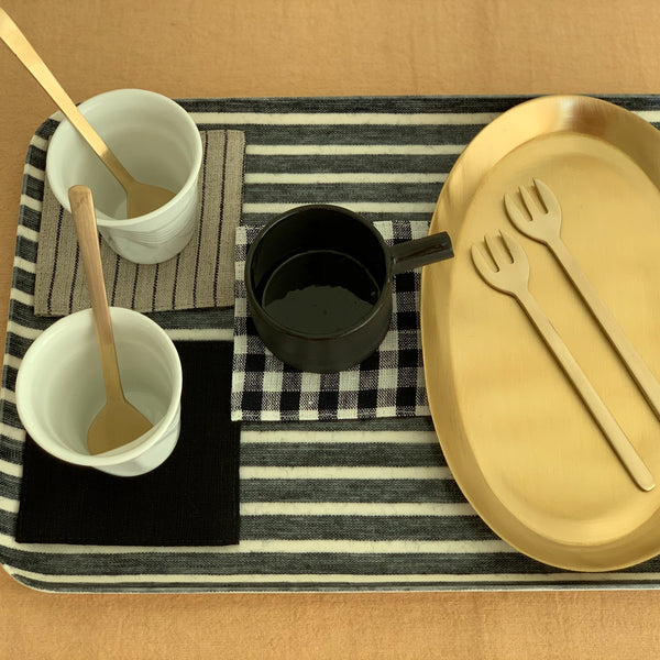 LINEN COATED TRAY MEDIUM - DARK NAVY WHITE STRIPES