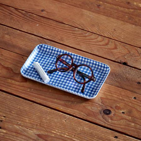 LINEN COATED TRAY SMALL - BLUE WHITE CHECK