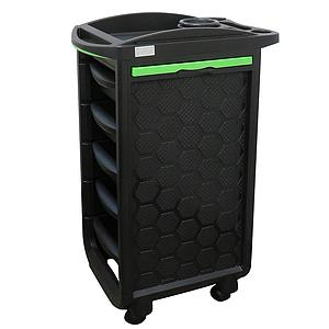 PLASTIC MOBILE UTILITY CART WITH DRAWERS - BLACK
