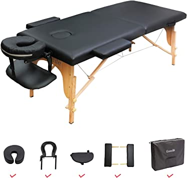 "MASSAGE TABLE 28"" X 73"" WOODEN - BLACK  (arm support included)"