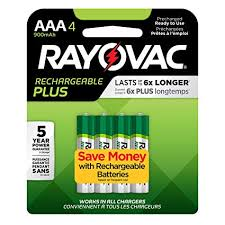 RAYOVAC RECHARGE PLUS RECHARGEABLE BATTERIES