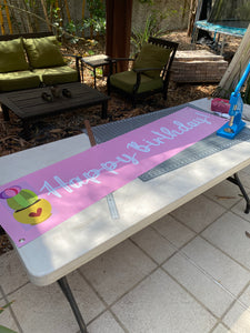 Banner 1 x 5 foot Happy Birthday Banner Pink with a Cactus Succulent