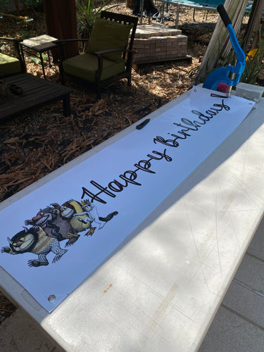 Banner 1 x 5 foot Happy Birthday Banner White with Wild Things
