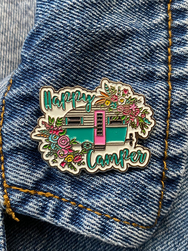 Enamel Pin Happy Camper Choose Pin or Magnetic clasp