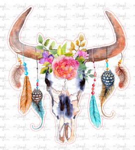 Sticker Watercolor Cow Skull with Feathers