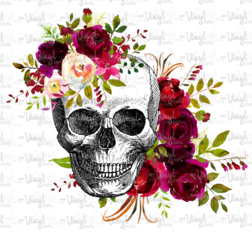 Waterslide Decal K7 SKULL WITH BURGUNDY FLOWERS