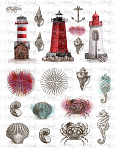 Waterslide Sheet of Decals RED WHITE LIGHTHOUSES Theme
