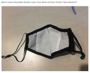 Black Cotton Reusable Double Layer Face Mask w/Filter Pocket *Non-Medical*