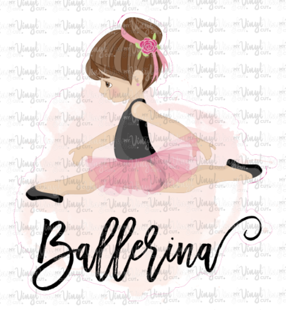 Sticker I10 Girl Ballerina Pink Background
