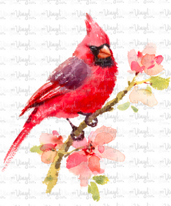 Waterslide Decal Watercolor Red Cardinal Bird
