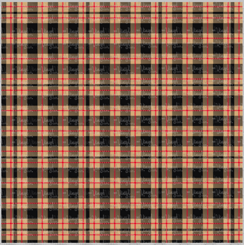 Printed Adhesive Vinyl Tan Red Black Tartan Plaid