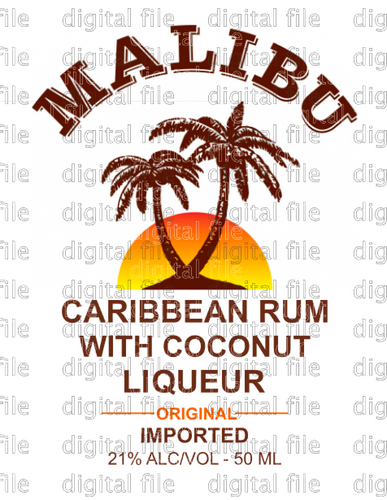 Malibu Rum Label Digital Download