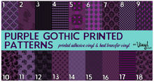 Load image into Gallery viewer, Printed Adhesive Vinyl PURPLE GOTHIC Pattern Vinyl 12 x 12 inch sheets