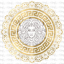Load image into Gallery viewer, Waterslide Decal Medusa Gold Greek Key Circle Frame