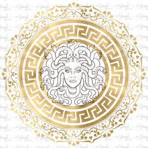 Waterslide Decal Medusa Gold Greek Key Circle Frame