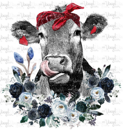 Waterslide Decal Cow Licking Nose with Blue Flowers