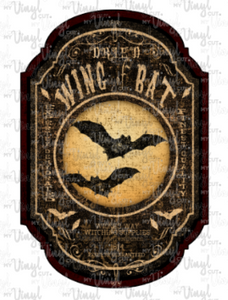Waterslide Decal Apothecary Label Wing of Bat