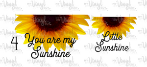 Waterslide Decal You are my Sunshine/Little Sunshine Choose one