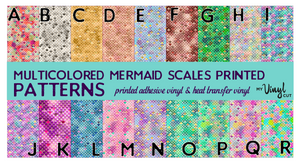 Printed Adhesive Vinyl MULTICOLOR MERMAID SCALES Pattern Vinyl 12 x 12 inch sheets