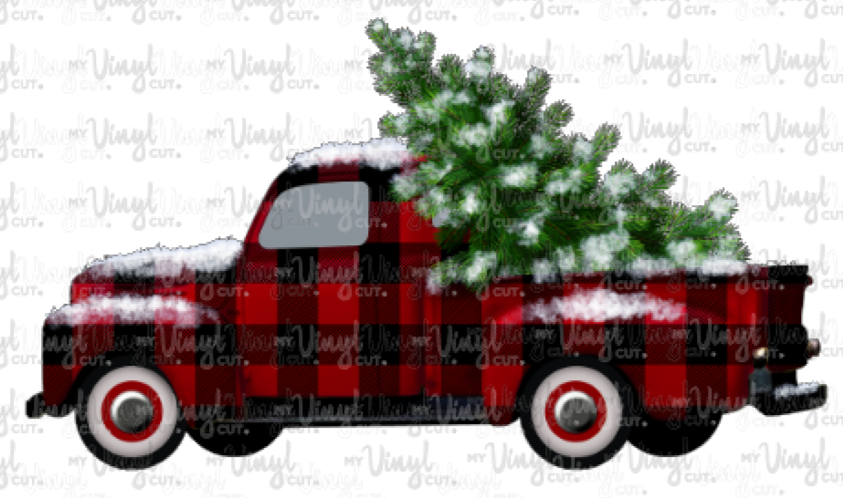 Waterslide Decal Red & Black Buffalo Plaid Vintage Truck with Christmas Tree