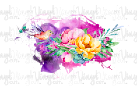Waterslide Decal Hummingbird with Flowers purple splash