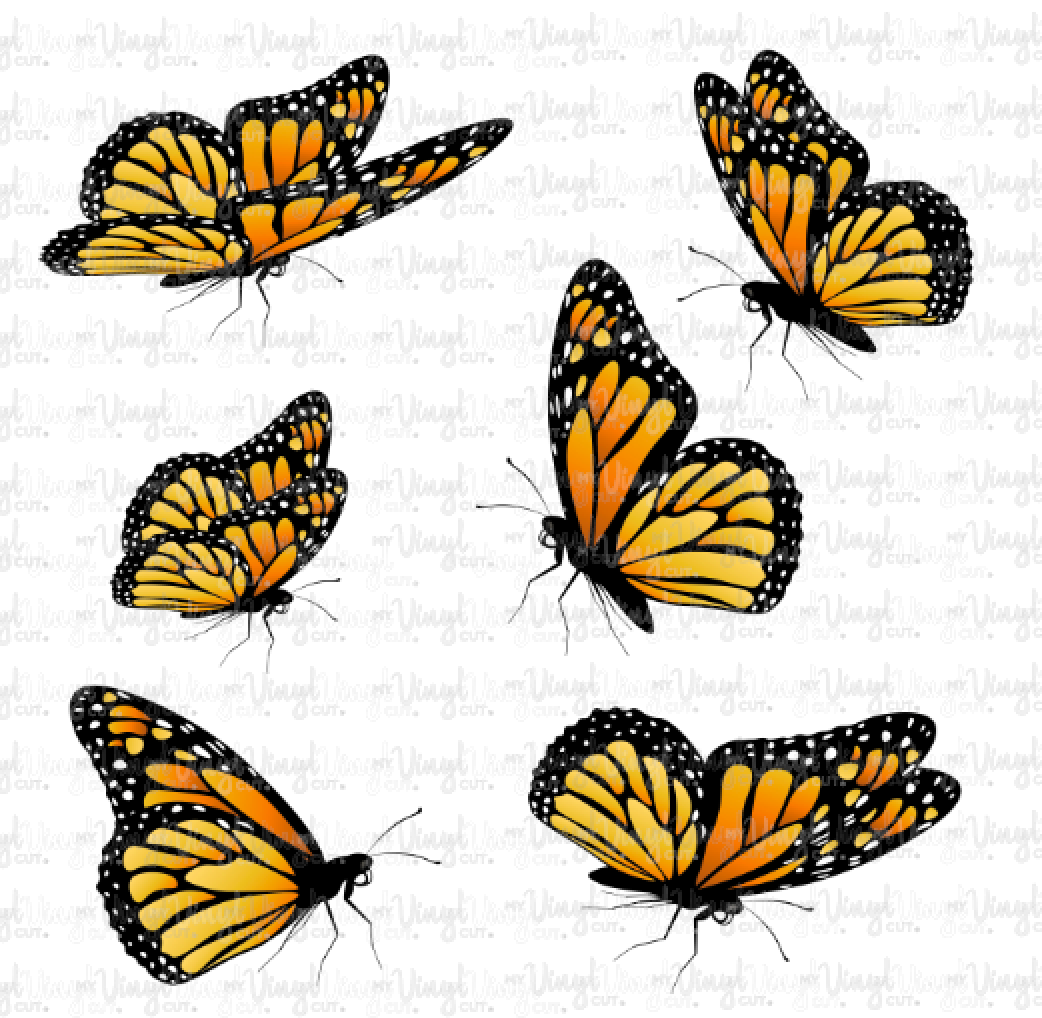 Waterslide Decal Set of 6 Orange Monarch Butterflies