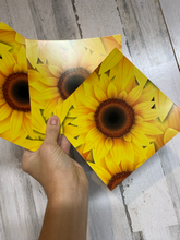 Load image into Gallery viewer, Vinyl Decal Printed Adhesive Vinyl Name cut from SUNFLOWER pattern
