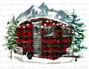 Sublimation Transfer Buffalo Plaid Winter Camping Scene
