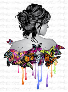 Waterslide Decal Woman with Butterflies