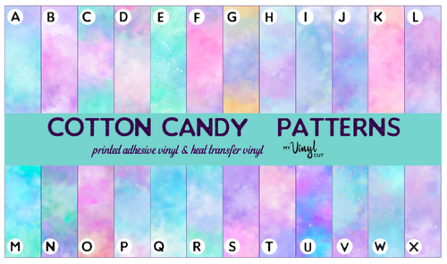 Printed Vinyl & HTV Cotton Candy Patterns 12 x 12 inch sheet
