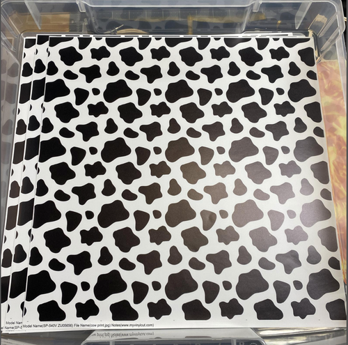 Printed Vinyl & HTV WHITE AND BLACK COW SPOTS