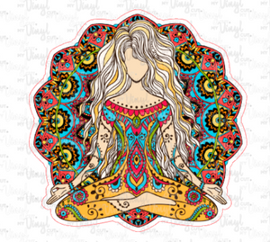 Sticker 7J Yoga Pose Zentangle Mandala Colorful