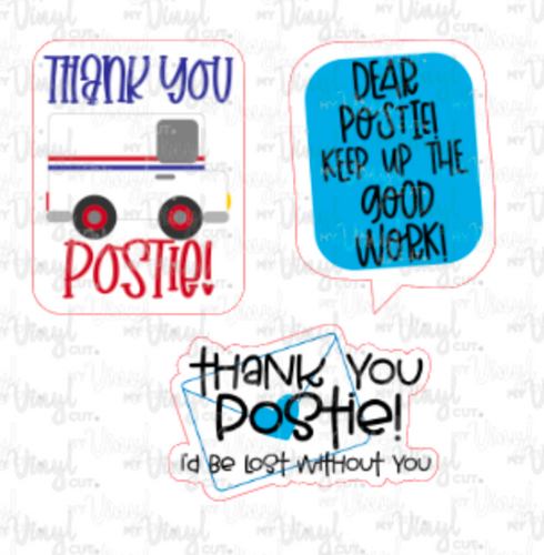 Set of 3 Mini Stickers Postal Packaging Stickers