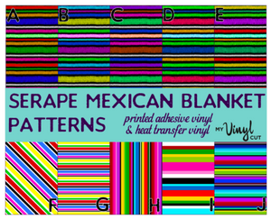Printed HTV SERAPE MEXICAN BLANKET Patterned Heat Transfer Vinyl 12 x 12 sheet
