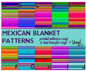 Printed HTV MEXICAN BLANKET Patterned Heat Transfer Vinyl 12 x 12 sheet