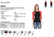 Load image into Gallery viewer, Bella Ladies Baby Rib 3/4 Sleeve Contrast Raglan