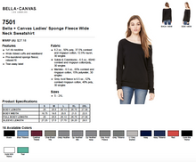 Load image into Gallery viewer, Bella Ladies Sponge Fleece Wide Neck Sweatshirt