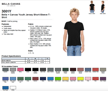 Load image into Gallery viewer, Bella Canvas Youth Jersey Short Sleeve