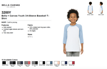 Load image into Gallery viewer, Bella Canvas Youth 3/4 Sleeve Baseball Raglan