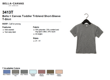 Load image into Gallery viewer, Bella Canvas Toddler Triblend Short Sleeve