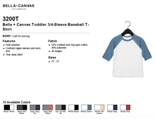 Load image into Gallery viewer, Bella Canvas Toddler 3/4 Sleeve Baseball