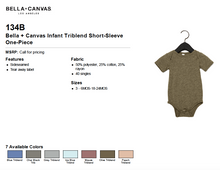 Load image into Gallery viewer, Bella Canvas Infant Triblend Short Sleeve One Piece