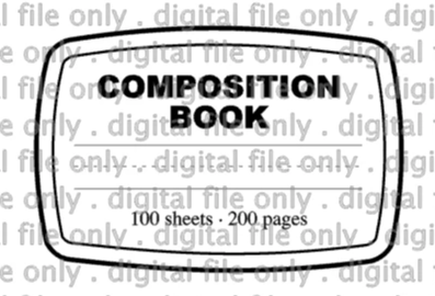 Digital File Composition Notebook label back to school
