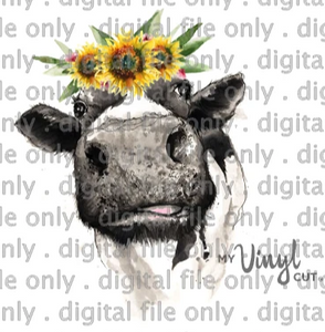 Digital File Heifer Cow with Sunflower Crown