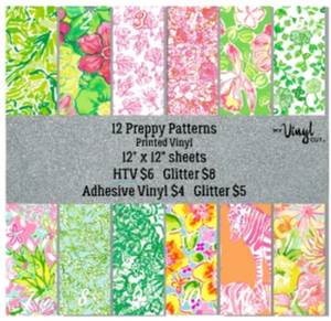 Patterned HTV Preppy Pink & Green Printed Heat Transfer Vinyl 12 x 12