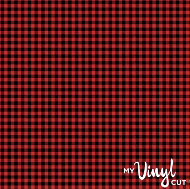 Printed Adhesive Vinyl RED AND BLACK BUFFALO PLAID Pattern 12