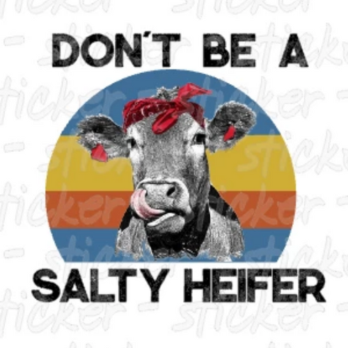 Waterslide Decal Don't Be A Salty Heifer