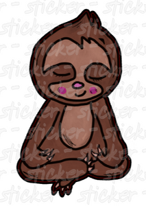 Sticker Yoga Meditating Sloth